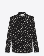 Signature DYLAN collar Shirt in Black and Off White Moon and Stars Printed Silk Crêpe