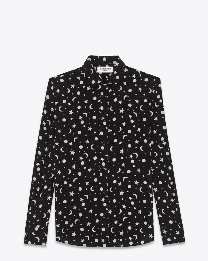 Saint Laurent Signature Dylan Collar Shirt In Black And