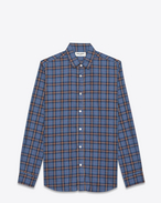 SAINT LAURENT Casual Shirts U signature yves collar shirt in blue and beige cotton plaid f