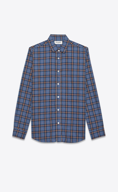 SAINT LAURENT Casual Shirts U signature yves collar shirt in blue and beige cotton plaid a_V4