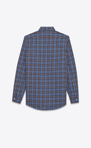 SAINT LAURENT Casual Shirts U signature yves collar shirt in blue and beige cotton plaid b_V4