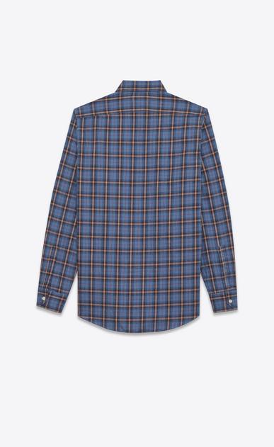 SAINT LAURENT Casual Shirts U signature yves collar shirt in blue and beige cotton plaid b_V4