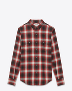 SAINT LAURENT Western Shirts U YSL Nashville Shirt in Black and Red Plaid Cotton and Tencel f