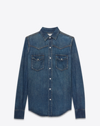 SAINT LAURENT Western Shirts U YSL 70s Western Shirt in Vintage Blue Denim f