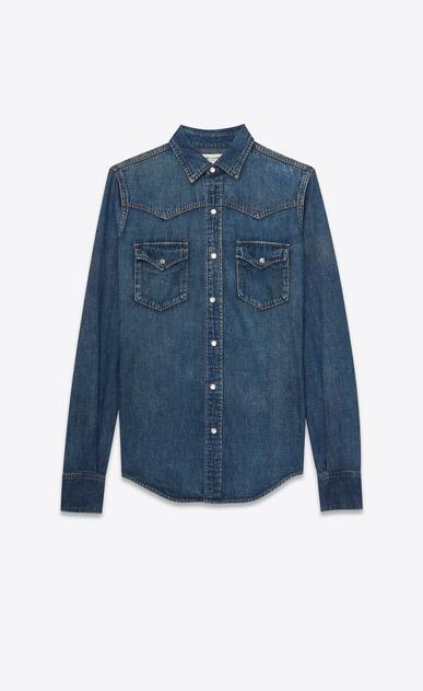 SAINT LAURENT Western Shirts U YSL 70s Western Shirt in Vintage Blue Denim a_V4