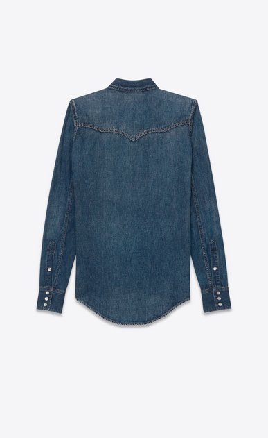 SAINT LAURENT Western Shirts U YSL 70s Western Shirt in Vintage Blue Denim b_V4