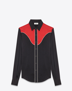 SAINT LAURENT Western Shirts U Slim Western Shirt in Black and Red Silk f