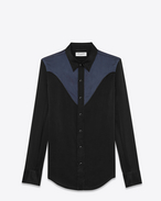 SAINT LAURENT Western Shirts U western shirt in black and navy silk f