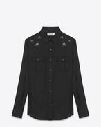 SAINT LAURENT Western Shirts U star embroidered western shirt in black viscose twill f