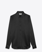 SAINT LAURENT Classic Shirts U Signature 70's collar Shirt in Black Silk f