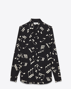 Signature 70's collar Shirt in Black and Off White Musical Note Printed Viscose