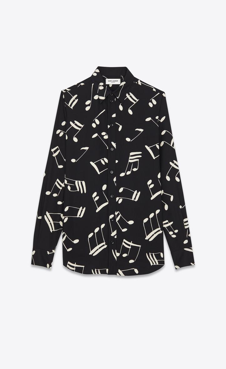 Saint Laurent Signature 70 S Collar Shirt In Black And Off White