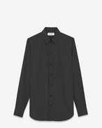 SAINT LAURENT Camicie Casual U Camicia Signature con collo 70's nera e bianco ottico in viscosa con stampa Micro Star f