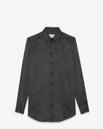 SAINT LAURENT Casual Shirts U Signature 70's collar Shirt in Black and Off White Polka Dot Printed Silk and Cotton f