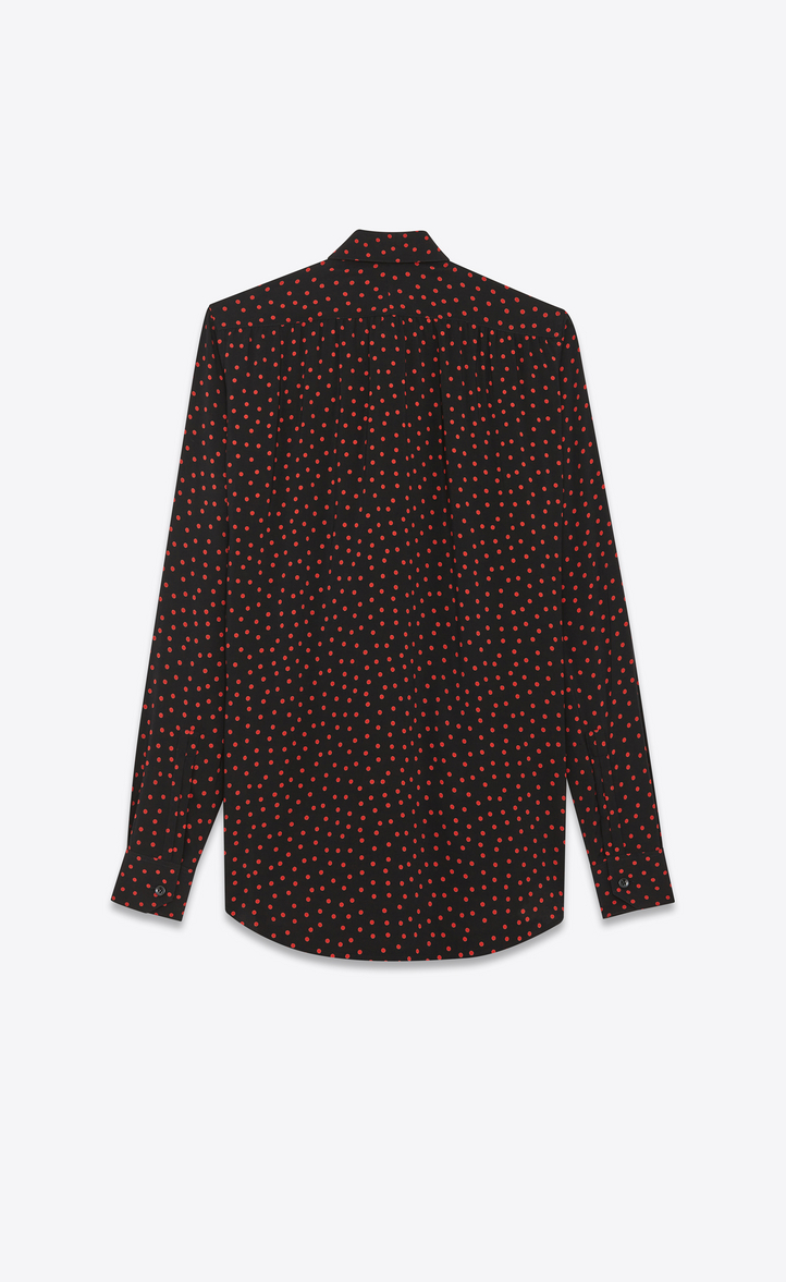 c4301d68999361 Saint Laurent BOWIE Lavaliere Shirt In Black And Red Polka Dot ...