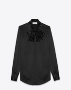SAINT LAURENT Tuxedo Shirts U Lavaliere Shirt in Black Silk f