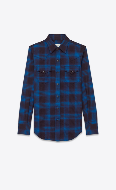 SAINT LAURENT Western Shirts U western shirt in navy blue and ink blue plaid cotton and elastane a_V4