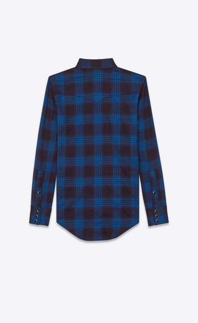 SAINT LAURENT Western Shirts U western shirt in navy blue and ink blue plaid cotton and elastane b_V4