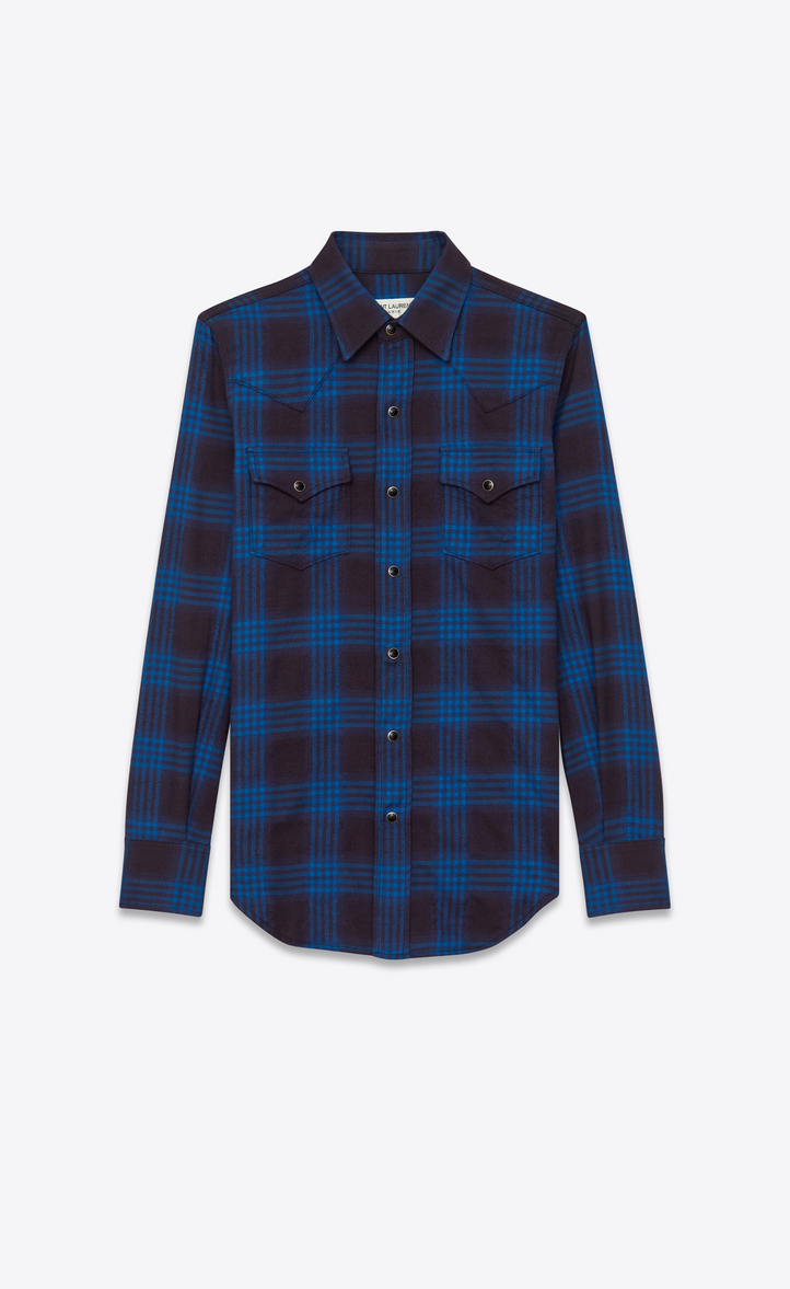 Saint laurent western shirt in navy blue and ink blue for Navy blue plaid shirt