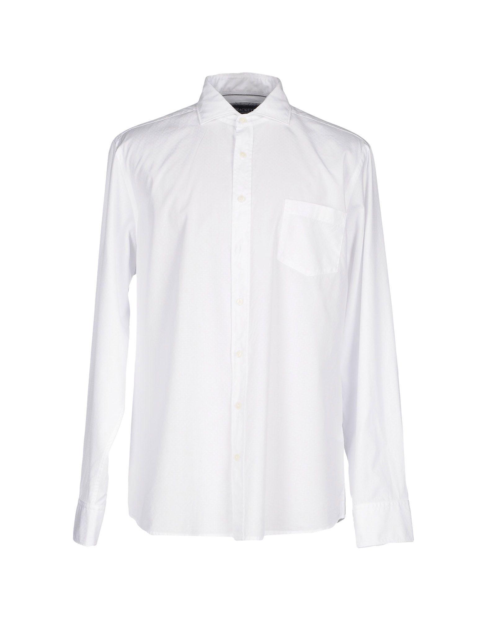 《セール開催中》HACKETT メンズ シャツ ホワイト L コットン 100%