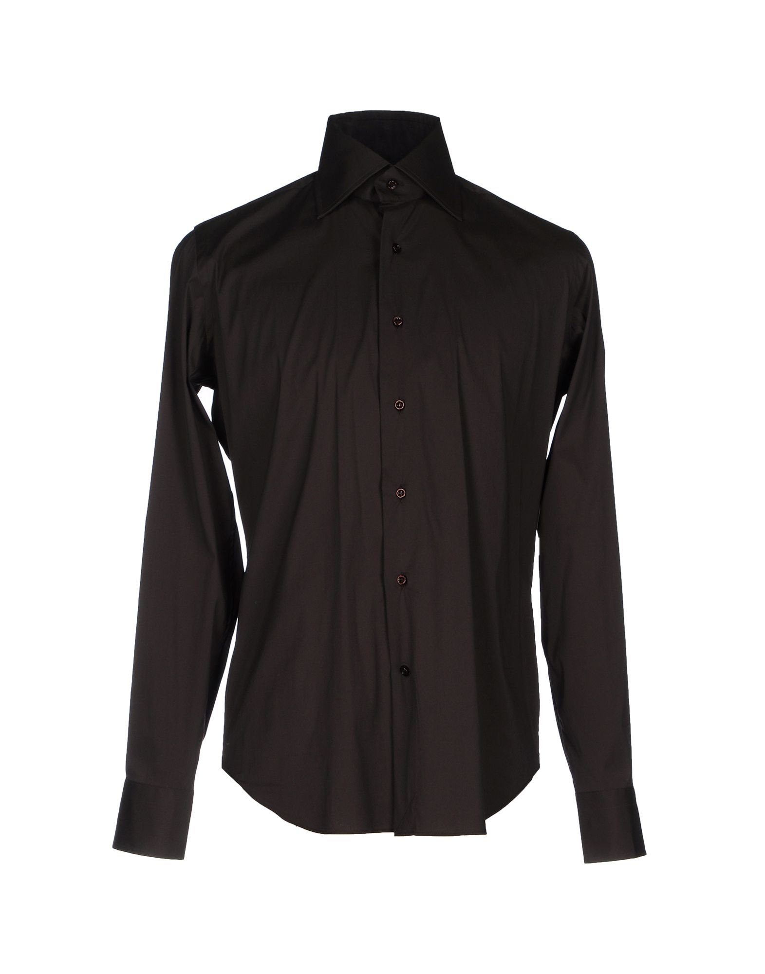 LEXINGTON Solid Color Shirt in Dark Brown