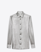 SAINT LAURENT Classic Shirts D PARIS Collar Shirt in Silver Silk and Polyester Twill Lamé f