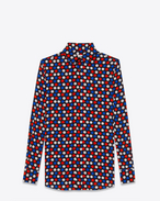 SAINT LAURENT Classic Shirts D PARIS Collar Shirt in Black, Blue, Red and White Polk Dot Printed Silk Crêpe f