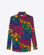 SAINT LAURENT Classic Shirts D PARIS Collar Shirt in Multicolor 80's Graffiti Printed Silk Crêpe f