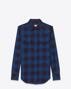 SAINT LAURENT Western Shirts D Western Shirt in Navy Blue and Ink Blue Plaid Cotton and Elastane f