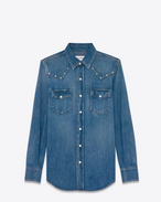 SAINT LAURENT Western Shirts D Studded Western Shirt in 80's Medium Blue Denim and Silver-Toned Metal f