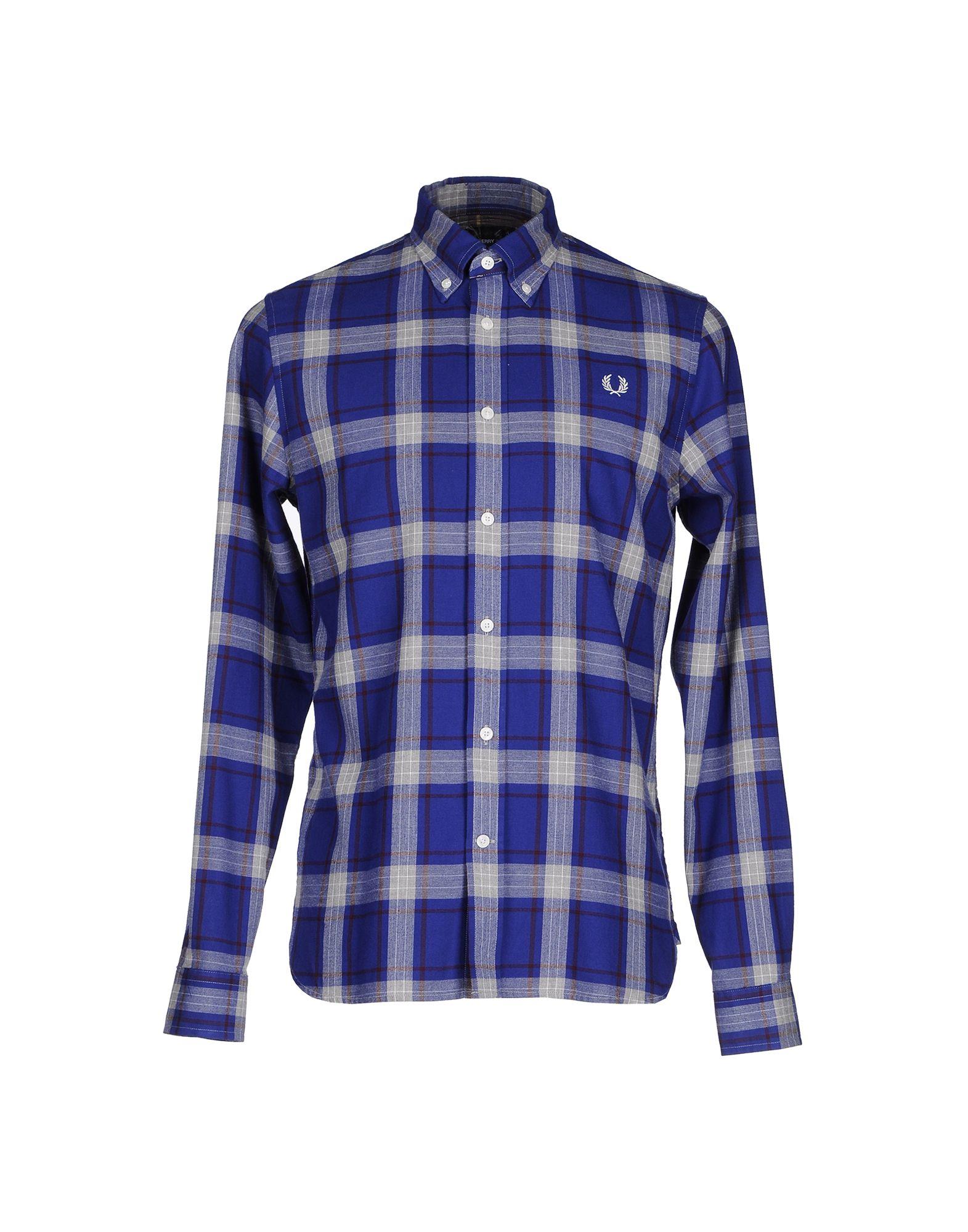 FRED PERRY メンズ シャツ ブルー XS コットン 100%