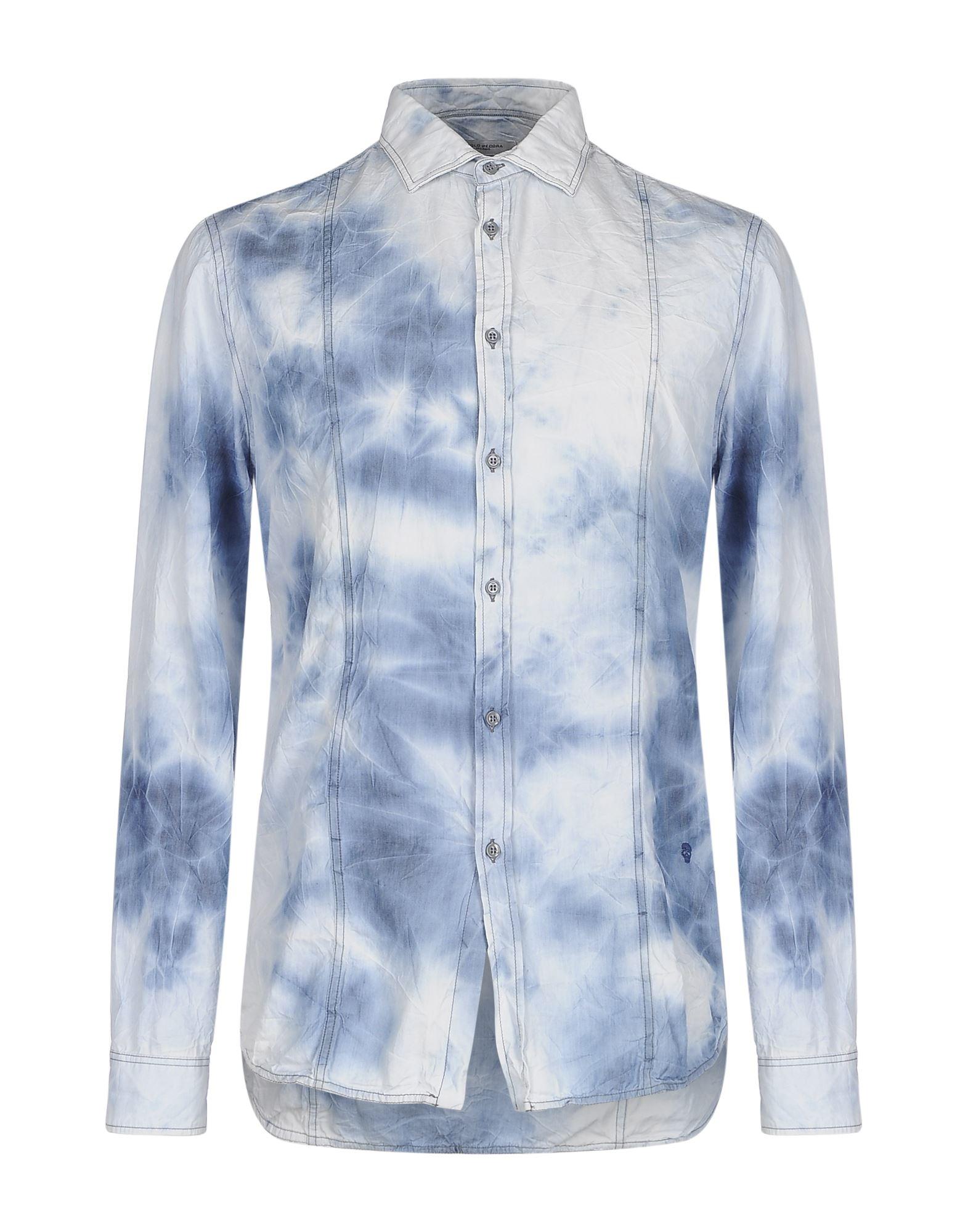 《セール開催中》PAOLO PECORA メンズ デニムシャツ ブルー 42 コットン 100%