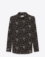 SAINT LAURENT Classic Shirts D PARIS Collar Shirt in Black and White Star Printed Silk Crêpe f