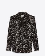パリス カラー シャツ(ブラック&ホワイト/星のプリント / シルククレープ)
