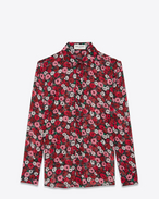 SAINT LAURENT Classic Shirts D PARIS Collar Shirt in Black, Fuchsia and Red Anemone Printed Silk Georgette f