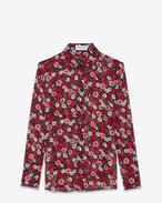 SAINT LAURENT Camicie Classiche D Camicia con collo PARIS nera, fucsia e rossa in georgette di seta con stampa Anemone f