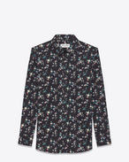 SAINT LAURENT Camicie Classiche D Camicia con collo PARIS nera e multicolore in cotone con stampa Prairie Flower f