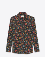 SAINT LAURENT Classic Shirts D PARIS Collar Shirt in Black and Multicolor Wild Flower Printed Silk Crêpe f