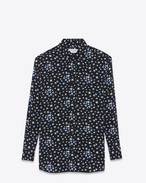 Oversized Shirt in Black, White and Blue Star Printed Silk Crêpe