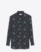 SAINT LAURENT Camicie Classiche D Camicia oversized nera, bianca e blu in crêpe di seta con stampa Star f