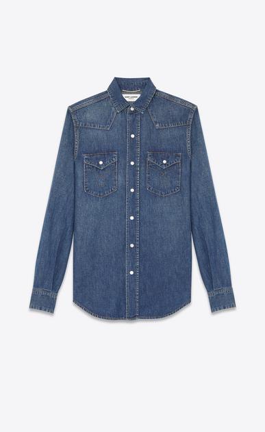 SAINT LAURENT Western Shirts D western stitched pocket shirt in dirty blue cotton v4