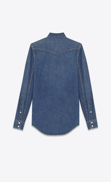 SAINT LAURENT Western Shirts Woman western stitched pocket shirt in dirty blue cotton b_V4