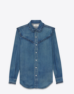 SAINT LAURENT Western Shirts D Classic Ruffled Western Shirt in Medium Blue Denim f