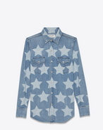 SAINT LAURENT Klassisches Westernhemd D Classic Western Shirt in Vintage Light Blue Denim and Bleached Stars f