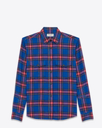 SAINT LAURENT Western Shirts D Oversized Repaired Shirt in Blue and Red Rinse Cotton Plaid f