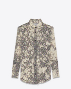 SAINT LAURENT Top e Bluse D camicia repaired nera in cotone bleached a stampa country flower f