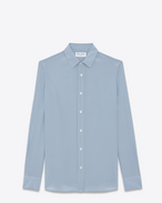 SAINT LAURENT Casual Shirts U Signature YVES Collar Shirt in Powder Blue and Shell Micro Polk Dot Printed Silk f