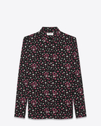 SAINT LAURENT Casual Shirts U Signature YVES Collar Shirt in Black, White and Pink Star Printed Silk f