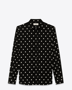 SAINT LAURENT Casual Shirts U Signature YVES Collar Shirt in Black and White Polka Dot Printed Viscose f