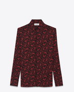 SAINT LAURENT Casual Shirts U Signature YVES Collar Shirt in Black and Red Paisley Printed Viscose Crêpe f